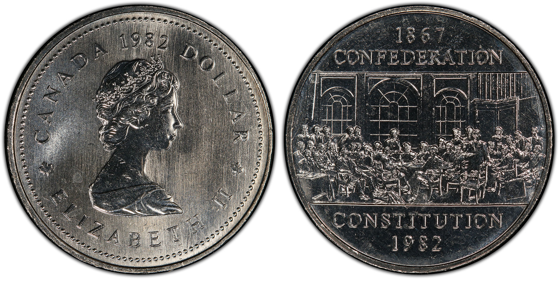 Canada 1982 $1 Constitution Coin Alignment (Regular Strike) PCGS MS66. Images courtesy PCGS