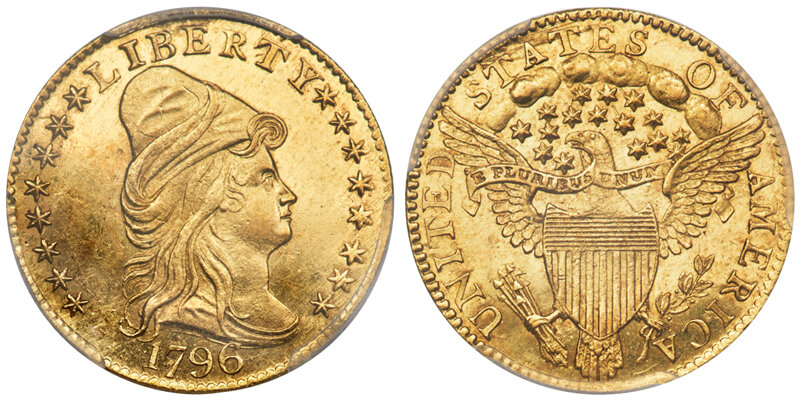Lot 3039: 1796 STARS $2.50 PCGS MS65 CAC. Images courtesy Doug Winter