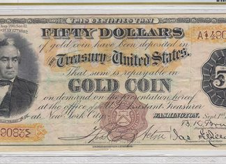 "Scarce ""Triple Sig"" Series 1882 $50 Gold Certificate Found in Old Book - PCGS Banknote"
