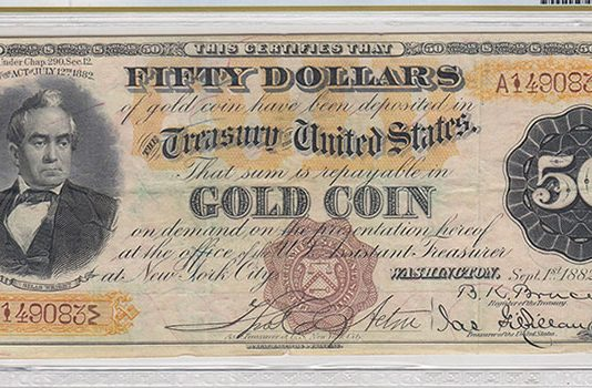 """Scarce """"Triple Sig"""" Series 1882 $50 Gold Certificate Found in Old Book - PCGS Banknote"""