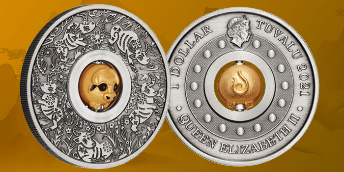 Perth Mint - Tuvalu 2021 Year of the Ox Rotating Charm 1oz Silver Antiqued Coin