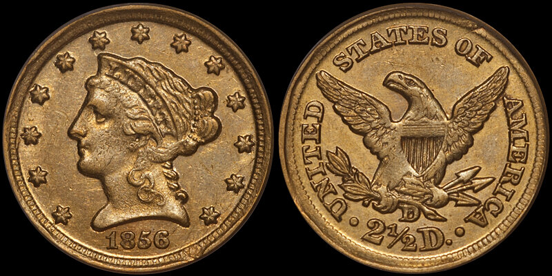 1856-D $2.50 PCGS AU58 CAC. Images courtesy Douglas Winter Numismatics (DWN)