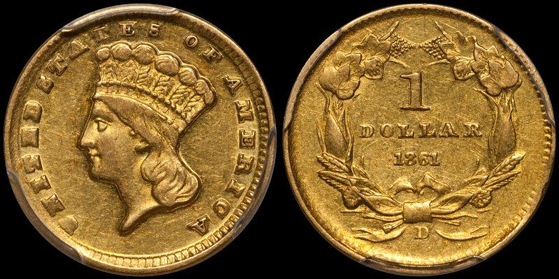 1861-D $1.00 PCGS AU55 CAC. Images courtesy Douglas Winter Numismatics (DWN)