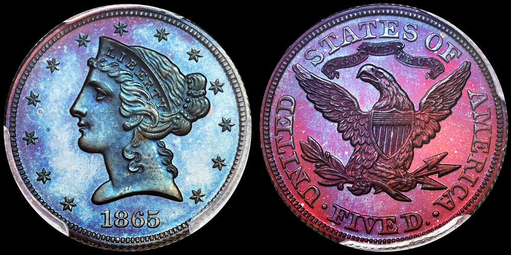 1865 $5.00, JUDD-446. Images courtesy Heritage Auctions, Doug Winter