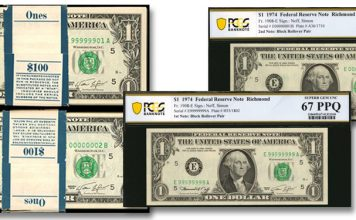 Unparalleled Solid Serial Numbers 9 to 1 Block Rollover Pack Pair in Stack's Bowers Las Vegas Currency Auction