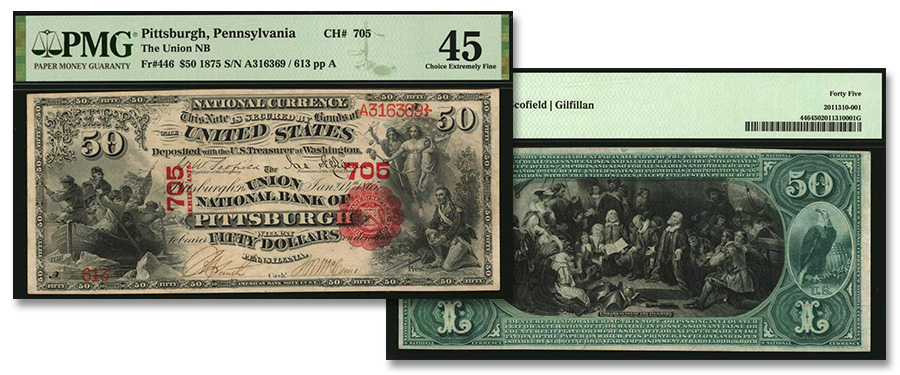 Sensational Pennsylvania First Charter $50 National Banknote in Stack's Bowers March Auction