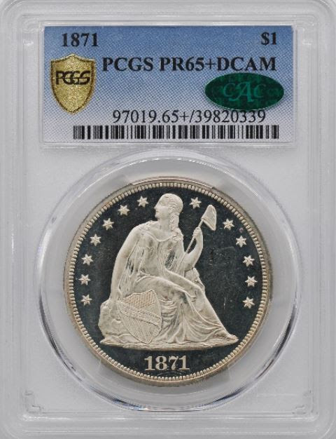 Stolen 1871 Seated Dollar PCGS PF65+ Deep Cameo. Numismatic Crime Information Center (NCIC), Doug Davis