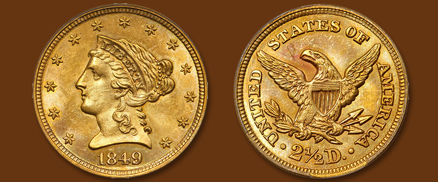 Top Pop 1849 Liberty Head $2.50 Featured in Stack's Bowers March Las Vegas Auction