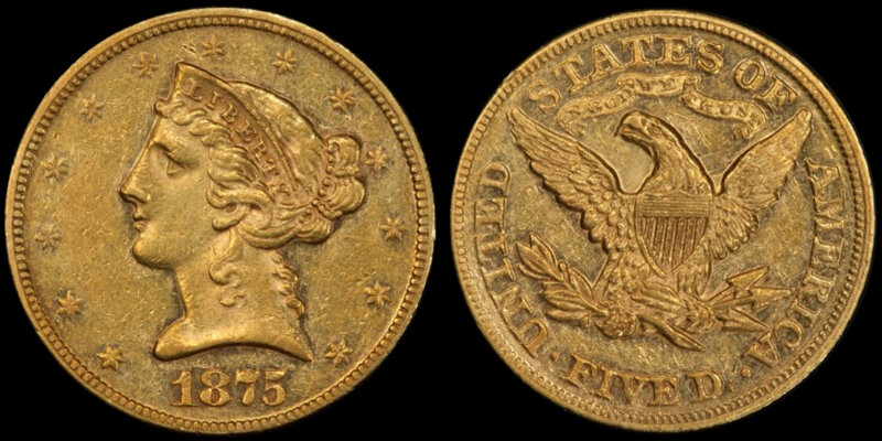 1875 $5.00 PCGS AU58, COURTESY OF PCGS COINFACTS