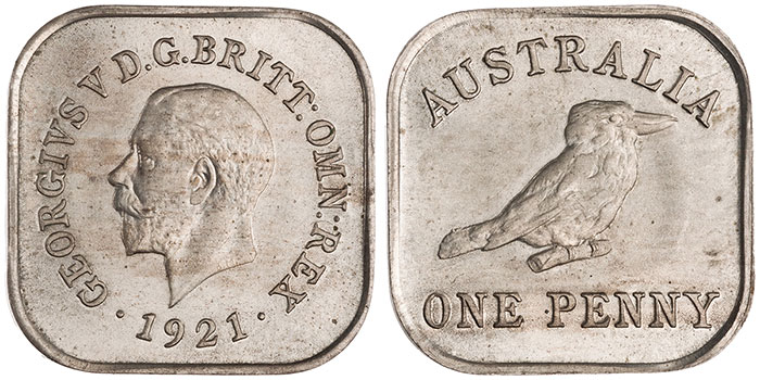 An Australian penny of 1921 struck as a square with rounded corners (ANS 1963.260.2).