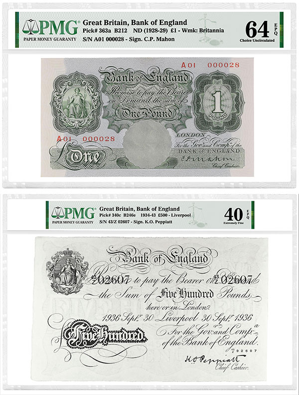 PMG-Certified Rare British Banknotes From Dauer Collection Offered in Spink