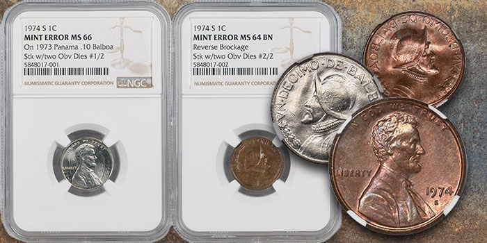 Mike Byers Mint Error News - Mated Pair of 1974-S Lincoln Cents Struck by 2 U.S. Cent Obverse Dies