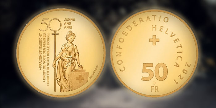 """Swiss Mint Issues New Commemorative Coins: """"50 Years of Women's Right to Vote"""""""