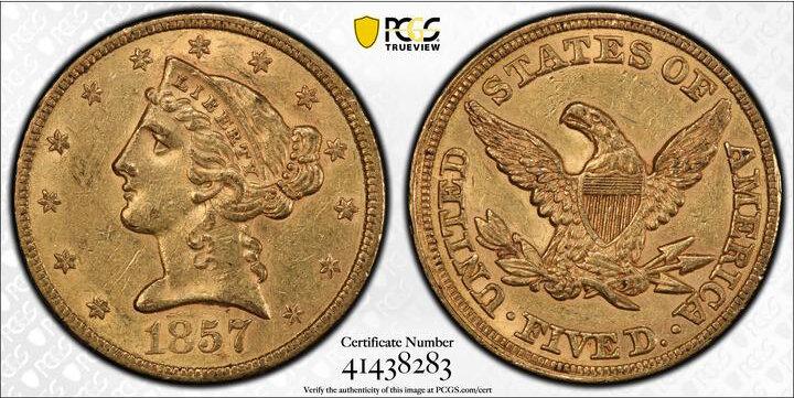 LOT 5763, 1857 $5.00 PCGS AU58 CAC