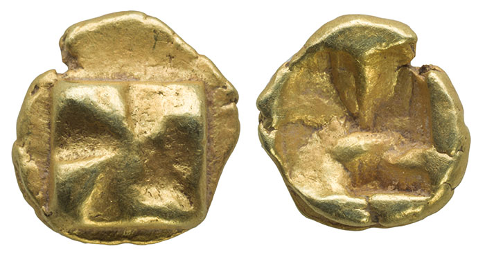 Electrum Myshemihekte.  Mill Sail Pattern.  Ionia. c. 625-600 BCE.  6 mm, .62 gm