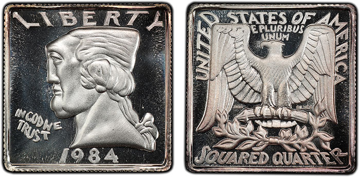 1/4-ounce .999 silver version of the Squared Quarter (image courtesy of PCGS).