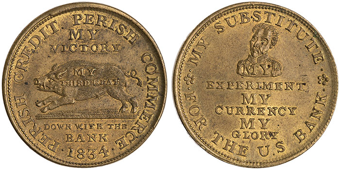 A satirical Hard Times token of 1834 (ANS 1949.65.72).