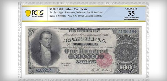 "PCGS Banknote Grades Rare Series of 1880 ""Black Back"" $100 Silver Certificate"