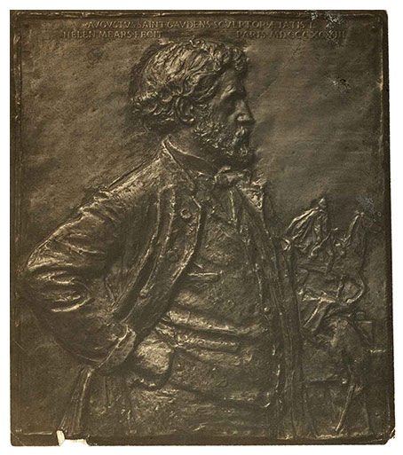 This bas-relief sculpture of Augustus Saint-Gaudens was created by Helen Farnsworth Mears. Image is courtesy of the Oshkosh Public Museum.
