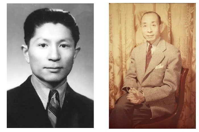 Chang's father, Zhang Shuxun (left), and Chang's father-in-law, and Turpin Hsi (right).