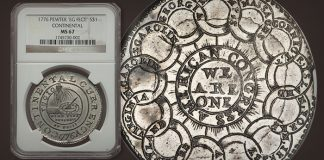 Finest Known 1776 Continental Dollar Offered at Heritage Long Beach Auction