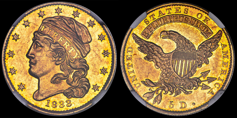 1833 LARGE DATE $5.00 gold coin NGC PR61, COURTESY OF HERITAGE