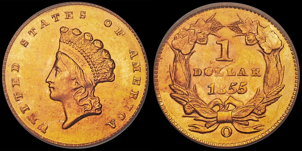 1855-O $1.00 PCGS MS64+, COURTESY OF HERITAGE