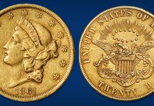 Historic Paquet Reverse 1861-S Double Eagle Offered in Stack's Bowers June 2021 Auction