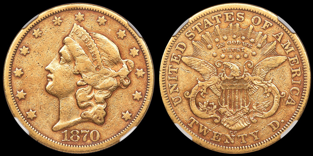 1870-CC $20.00 gold coin NGC EF40, COURTESY OF HERITAGE