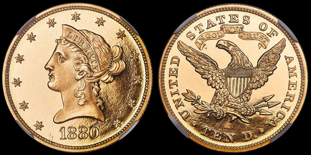 1880 $10.00 gold coin NGC PR66DCAM, COURTESY OF HERITAGE