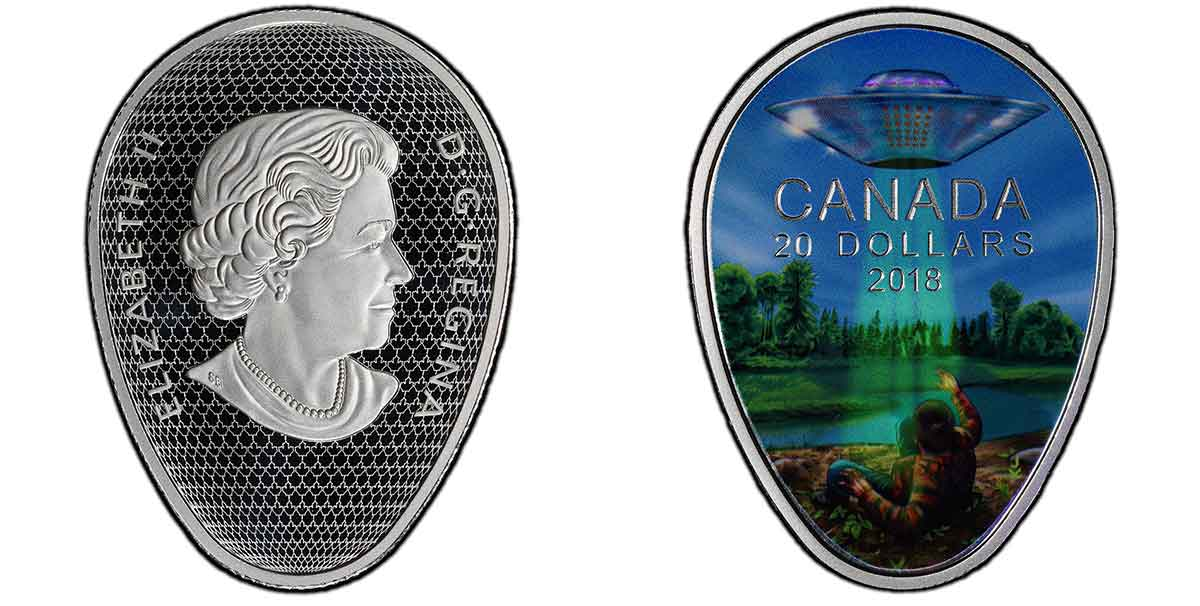 Canada 2018 $20 – Falcon Lake Incident – PCGS PR70 Deep Cameo (showing some of the glow-in-the-dark effect)