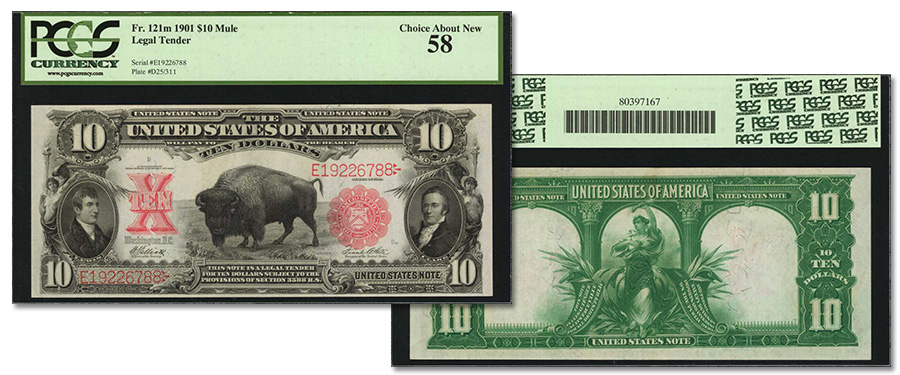 Choice About New 1901 $10 Bison in May Stack's Bowers CCO Currency Auction