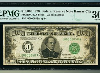 United States $10,000 Federal Reserve Note Realizes Record Price of $456,000