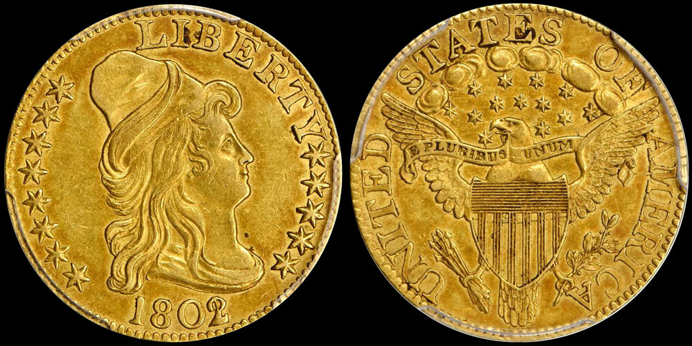1802/1 $5.00 PCGS AU58 CAC, courtesy Stack's Bowers Galleries, Doug Winter