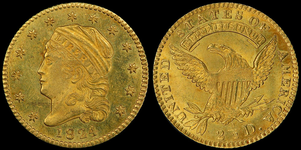 1824/1 $2.50 PCGS MS64, Courtesy PCGS CoinFacts