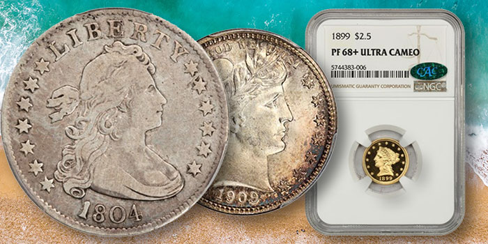 1907 High Relief Wire Edge Double Eagle, Key Date 1804 Quarter Among Highlights at David Lawrence Rare Coins