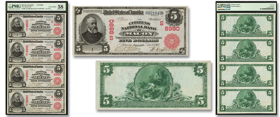 Exceptional Macon Georgia Red Seal Serial Number 1 Sheet in Stack's Bowers ANA Auction