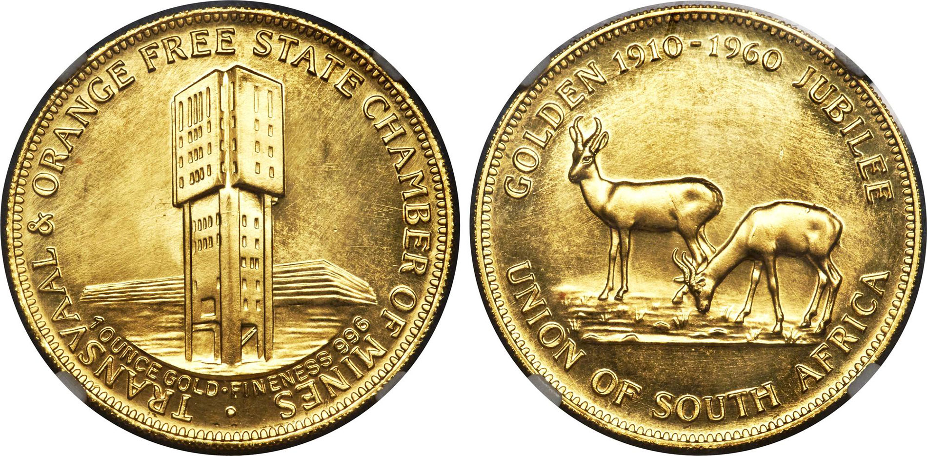 South Africa 1960 Chamber Mines 1oz Medal.Image is courtesy of Heritage Auctions, www.HA.com.