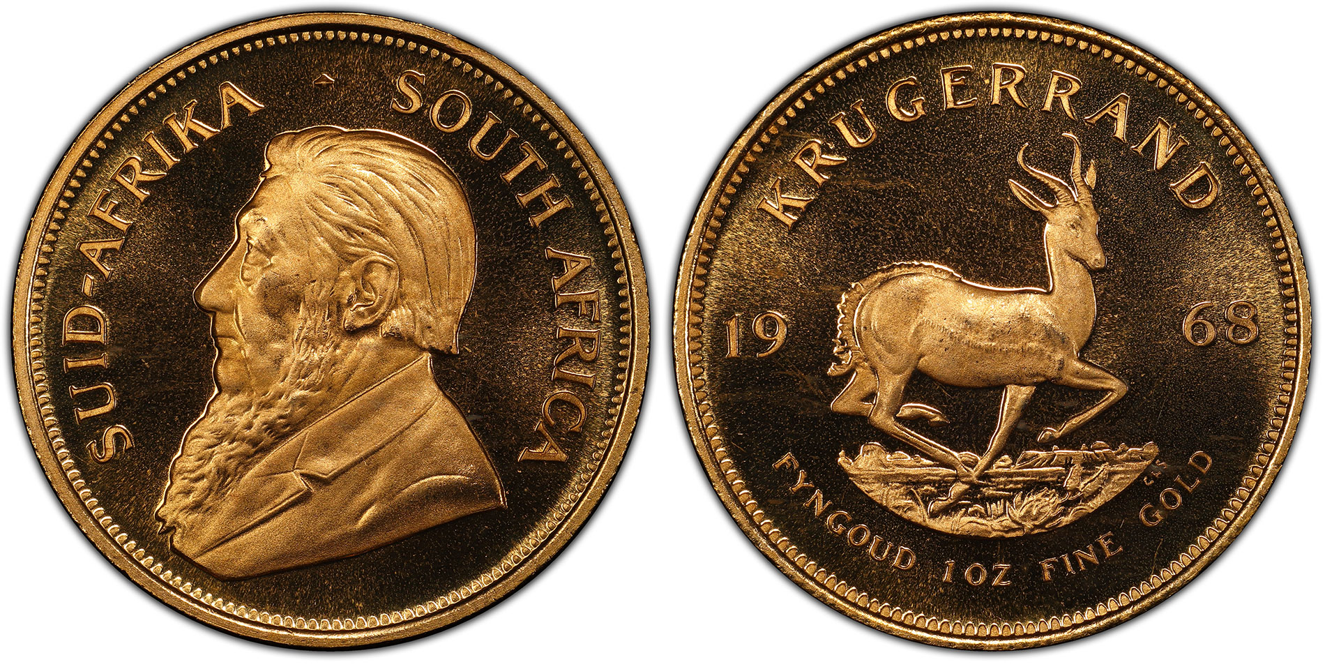 South Africa 1968 Krugerrand Proof Double Frosted PCGS PR68DCAM