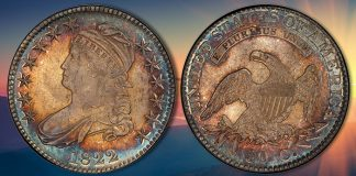 Toned Gem Overton-105 1822 Capped Bust Half Dollar Featured in Stack's Bowers 2021 ANA Auction