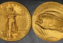 """""""Sleeper"""" Flat Edge High Relief MCMVII Saint-Gaudens $20 Double Eagle Gold Coin Offered at GreatCollections"""
