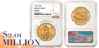 NGC-Certified 1921 Double Eagle Realizes Over $2 Million at Heritage Auction