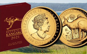 Perth Mint Coin Profiles - Australian Kangaroo 2021 2oz Gold Proof High Relief Coin