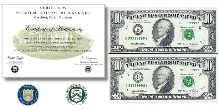 Solid Serial Number 9 $10 BEP Premium Set Featured in Stack's Bowers August ANA Auction