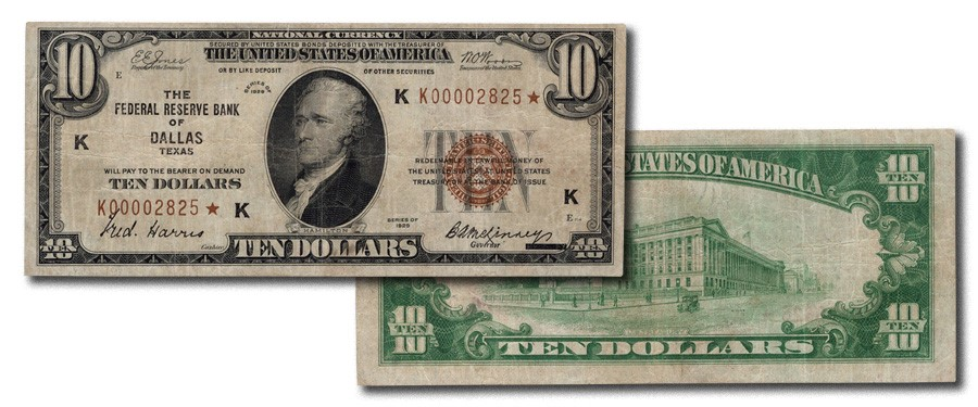 Ultra-Rare 1929 $10 Dallas Replacement from the Gary Burhop Collection of Federal Reserve Bank Notes - Stack's Bowers Galleries