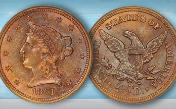 David Lawrence Offering Tough Full Head Standing Liberty Quarter, 1861-S Quarter Eagle in Upcoming Auction