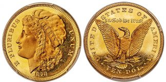 1878 Morgan $10 Pattern Struck in Gold Offered in Heritage ANA Signature Auction