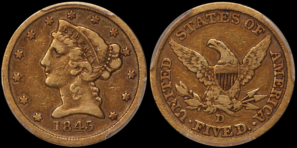 1845-D HALF EAGLE IN VF AND CAC APPROVED. Images courtesy Doug Winter