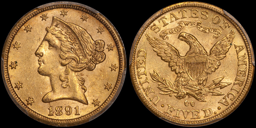 1891-CC $5.00 IN PCGS MS62 CAC. Images courtesy Doug Winter