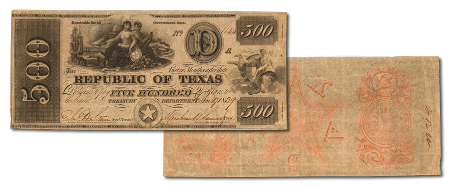 Rare Obsolete Texas Banknote Highlights From Stack's Bowers September CCO Auction - Austin, Republic of Texas $500